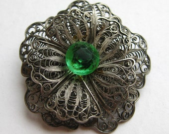 Fine Vintage 800 Silver Lace Filigree Floral Rosette Jeweled Rhinestone Brooch Pin