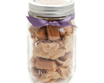 Fathers Day, Engagement gift, End of the Year Teacher, Birthday or Thank You Gift - Fleur de Sel Caramels - (1) 1/2 Pound Jar