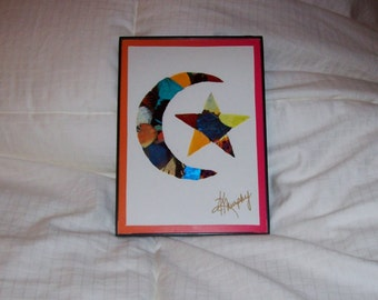 """Real  Butterfly Wings Framed """" Moon and Star""""  Collage"""