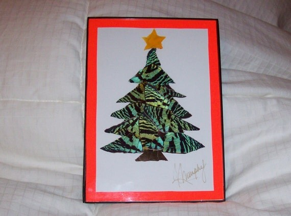 """Real Butterfly Wings Framed  """"Christmas Tree""""  Collage"""