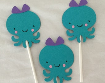 12 Under the Sea Octopus cupcake Toppers purple and Turquoise