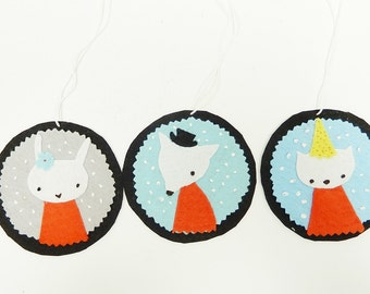 Animals Christmas Felt Ornaments, Rabbit, Wolf, Cat,