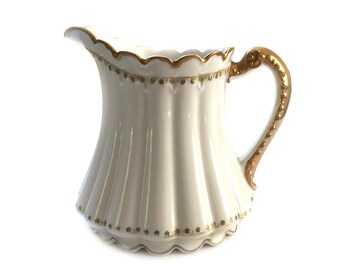 Antique Theodore Haviland Limoges China Pitcher Large 40 oz. White and Heavy Gold RARE PIECE