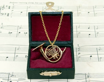 French Horn Necklace - Music Jewellery - Band Geek Necklace - Music Gift