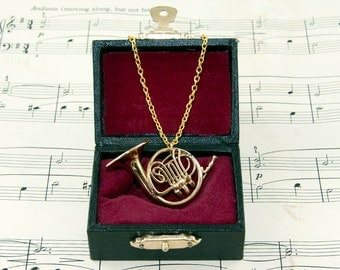 French Horn Necklace, Music Jewellery, Band Geek Necklace