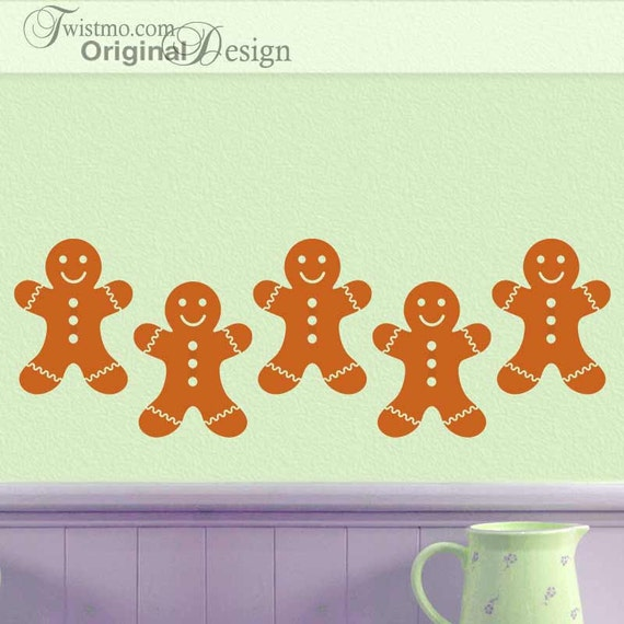 Gingerbread Man Cookies Kitchen Wall Decal Decorations, Fall Holiday Decor, Furniture Decals, Car Decals (00168d4v)