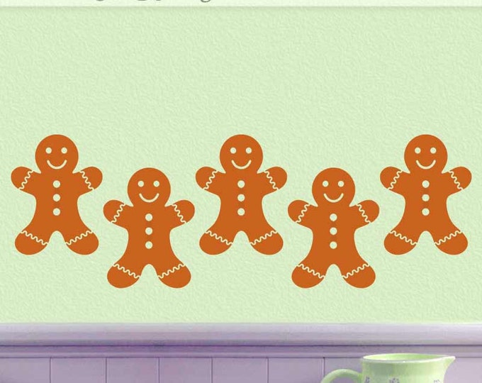 Gingerbread Man Cookies Kitchen Wall Decal Decorations, Christmas Holiday Decor, Gingerbread Men, Furniture Decals, Car Decals (00168d4v)