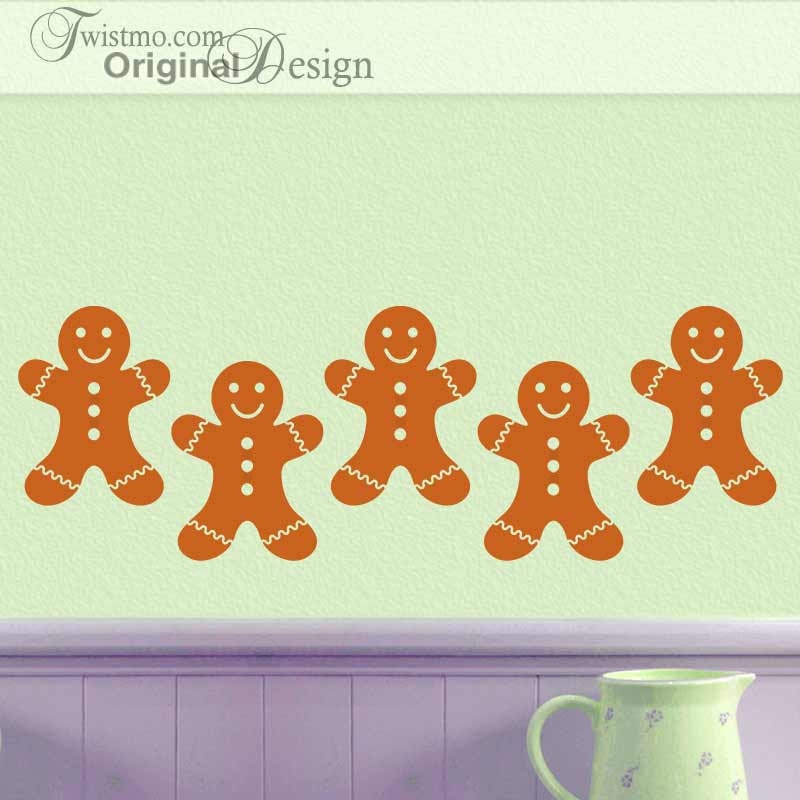 Kitchen Wall Border Decals: Gingerbread Man Cookies Kitchen Wall Decal Decorations