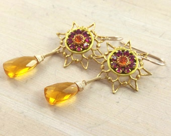 Vintage crystal flower sun earrings. Starburst. Sunshine