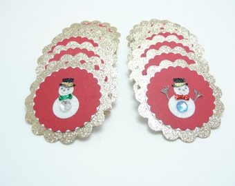 Christmas Snowman Embellishments Set of 16, Glitter Christmas Tags, Holiday Snowman Tags Red and Gold Christmas Gift Tags Snowman Decoration