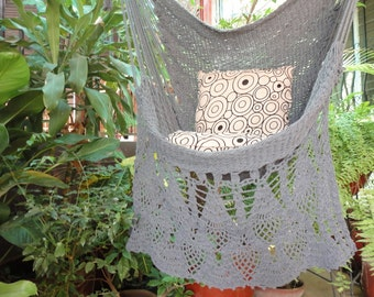 Dark Gray Sitting Hammock, Hanging Chair Natural Cotton and Wood plus Presidential Fringe