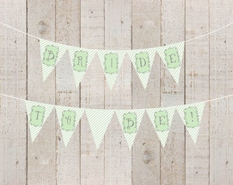 Green Stripes Bridal Shower Banner Welcome Baby Green Baby Shower Bride to Be Green Twins Banner Lime Happy Birthday Mint - INSTANT DOWNLOAD