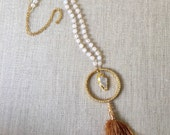 "Free Spirit Frosted Agate Arrow Head Tassel Gold and Rhinestone 20"" necklace."