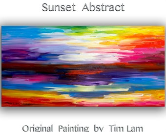 "Huge original Texture art Abstract painting Modern decor Sunset landscape by Tim Lam 48"" x 24"""