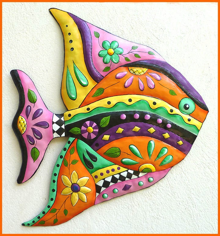 Tropical fish wall hanging painted metal fish art design for Tropical metal wall art