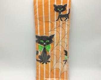 Vintage Paper Art Halloween Black Cat Tablecover NOS NIP