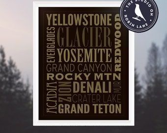 The Seven Summits - Outdoor, Hiking, Camping, Climbing, Nature Print Typographic Poster