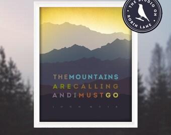 "John Muir – The Mountains are Calling [No.3] 11""w X14""h Hiking, Typographic, Outdoor, Decor & Housewares Wall Decor, John Muir Poster"