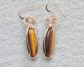 Tiger Eye and Goldfilled Wire Earrings