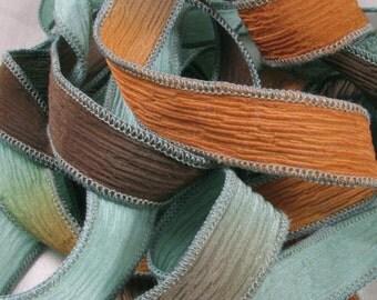 Hand Dyed Silk Ribbons - Wrist Wrap Yoga Bracelet Crinkle Silk Ribbon  - Coastal Bluff