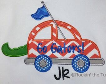 Car Gator Tail Appliqué Shirt or Onesie, Florida Gators Football Team Spirit, Personalized Embroidery