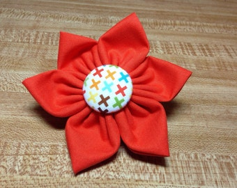 Large Collar Flower - Xs and Os - Orange Collar Flower with Rainbow Xs - Ready to Ship - Removable