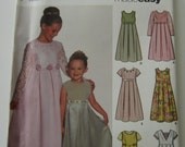 UNCUT Simplicity Pattern 7039 Easy to Sew Girls Dress or Jumper Pattern with Neck & Sleeve Variations Sizes 3,4,5,6