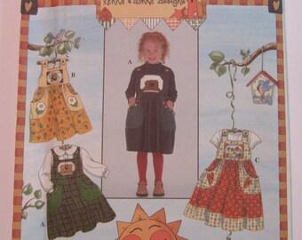 UNCUT Simplicity Pattern 8389 Girls Sundress or Jumper Sizes 3,4,5,6