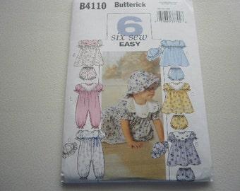 Pattern Baby Infant Dress Panties Hat Jumpsuit  Butterick 4110