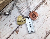 Love, Inspire, Teach Hand-Stamped Small Charm Necklace - Copper - Brass - Stainless Steel - Distressed - Stainless Steel Chain - Inspiration
