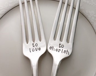 To love & To cherish-  forks, vintage, hand stamped. Banbury.