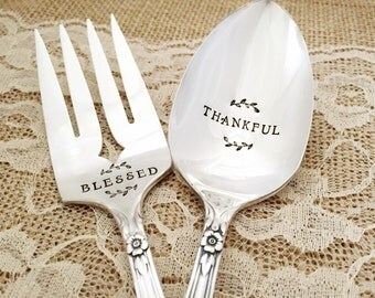 Blessed & thankful, Hand Stamped serving spoon and forks. Valley rose