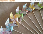 SALE 50% OFF Paper Pinwheels 10 Twirling Pinwheels Birthday Favors Baby Shower Favors Table Centerpiece Easter Decoration Photo Prop Summer