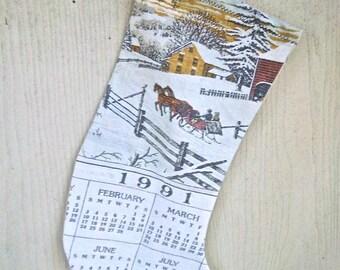 Handmade Re Purposed Vintage Linen Calendar Christmas Stocking Mantel Decor Christmas Decor