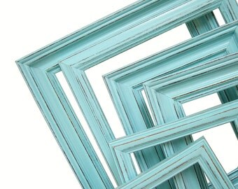 Picture Frame Picture Frame Picture Frame Set Rustic Picture Frames Distressed Wood Picture Frames 8x10 Frame 5x7 Frame in Turquoise Mist