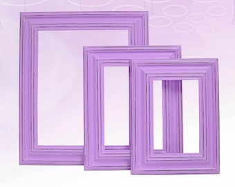 Picture Frame Picture Frame Set Shabby Chic Picture Frames Home Decor Rustic Picture Frame Purple Lavender Nursery Wedding Wall Decor