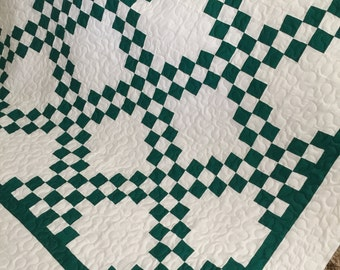 Quilt Irish Chain Green and White Queen Ready to Ship
