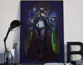 Dark Lady Watch Over Us - Print - World of Warcraft Sylvanas Windrunner Art Nouveau Horde