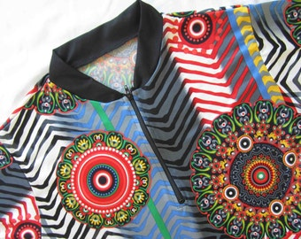 Women's bold print bike jersey Aztec inspired pattern in primary colors - LARGE
