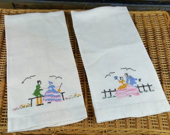 Vintage Hand Towels, Ivory Linen, Set of Two, Cross Stitched Man and Woman, Period Clothing