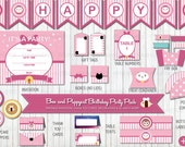 Bee and Puppycat Themed Printable Party Pack, Birthday Party Decorations, DIY Party, Pink Party