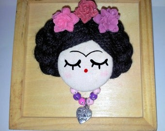 Frida Kahlo face doll brooch