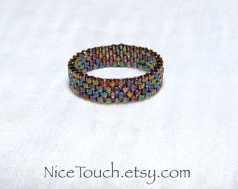 SUMMER SALE!!! Free Shipping or Save 20% ~ Autumn Rainbow peyote beaded glass ring ~ Made to Order