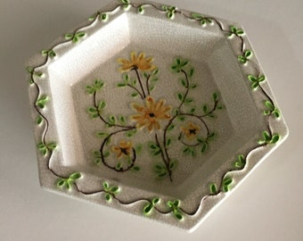 Italian Pottery Dish/ Yellow Flowers/Mid Century Embossed Floral Design/ Hexagon Shaped Dish/ By Gatormom13