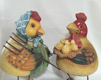 Vintage Rooster/Hen/Chicks ADORABLE by Gatormom13