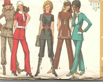 1970s Tunic Top and Pants Jewel Neck or Shaped Collar Tie Sleeve Variations Simplicity 9508 Bust 32.5 Women's Vintage Sewing Patterns