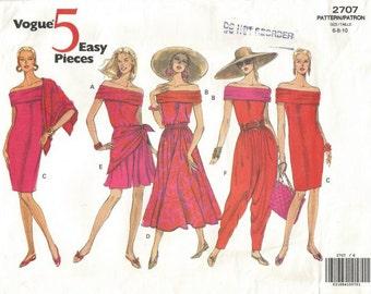 1990s Harem Pants Off Shoulder Sheath Top Shorts Skirt Vogue 2707 FF Uncut  Size 6-8-10 Bust 30.5-31.5-32.5 Women's Vintage Sewing Pattern