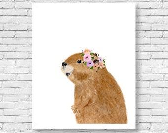 Watercolor Beaver, Woodland Nursery Art, Animal Paintings, Animal Wall Art, Childrens Wall Decor, Kids Art Print, Beaver art, woodland