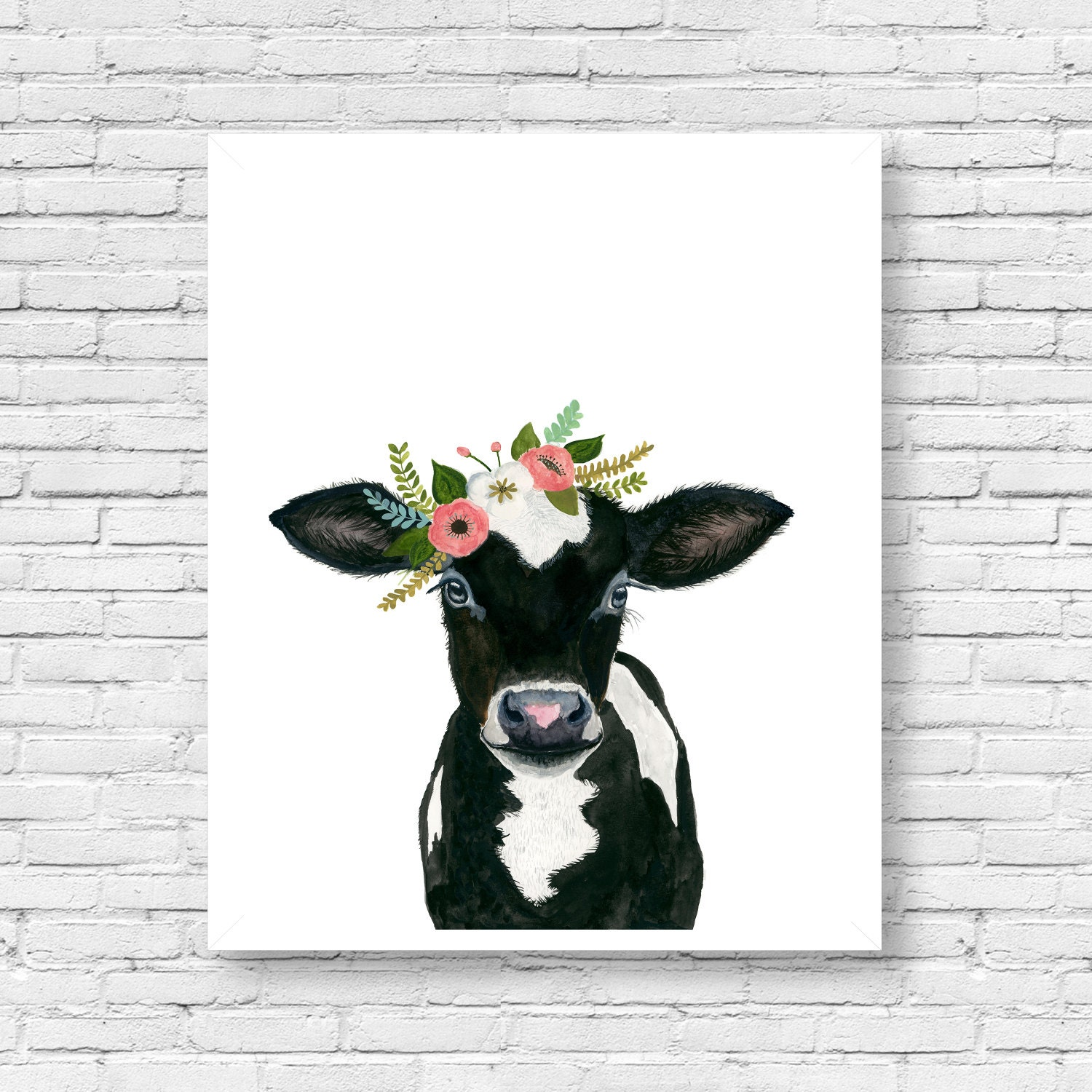 Watercolor Cow Calf Baby Farm Animals Cow Painting Babby