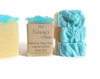 Large Patchouli & Ylang Ylang Handmade All Natural Soap, 6.3 oz. Vegan Soap, Earthy Scent, Shampoo Bar, Handmade Shampoo, Shampoo Soap